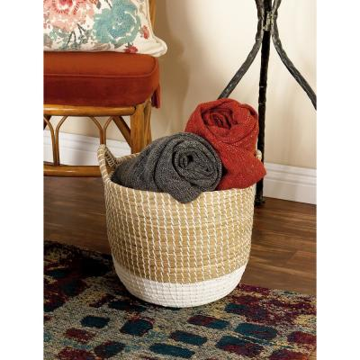 Brown and White Corded Seagrass Round Baskets with Arched Cord Handles (Set of 3)