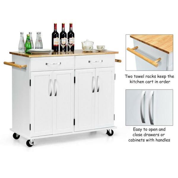 Costway White Kitchen Cart With Natural Wood Top And Cabinet