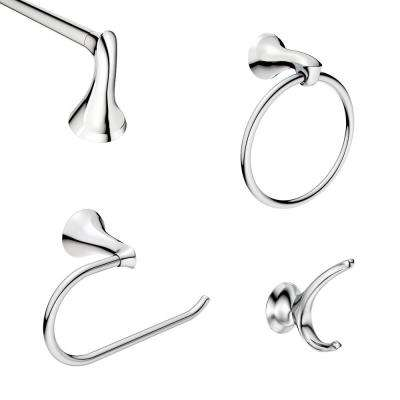 Darcy 4-Piece Bath Hardware Set with 18 in. Towel Bar in Chrome
