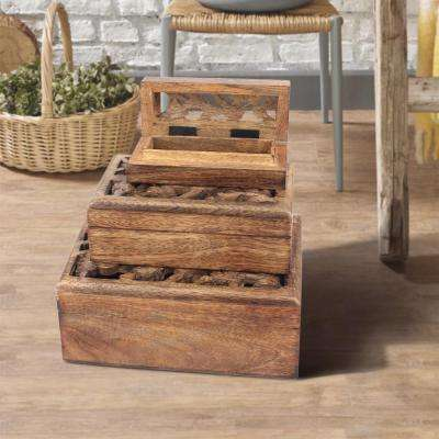 8 in. x 3 in. Carved Floral Natural Wooden Boxes (Set of 3)