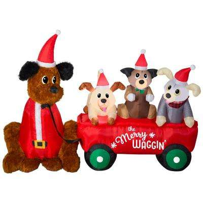 7 ft. W Pre-Lit Life Size Inflatable Wagon with Christmas Puppies Scene