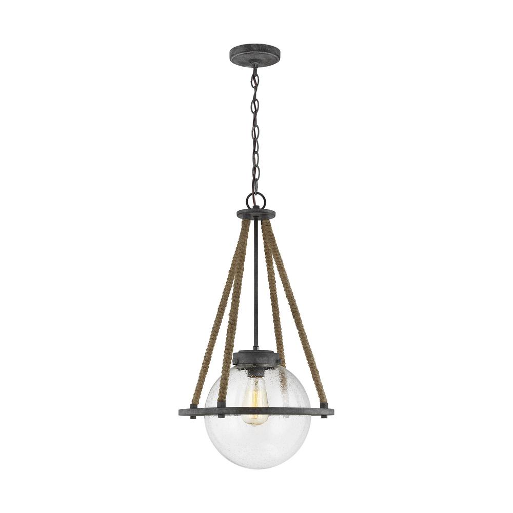 Sea Gull Lighting Cottage 13.75 in. W 1-Light Deep Abyss Gray Rustic Farmhouse Pendant with Round Seeded Glass Orb Shade and Rope Accents