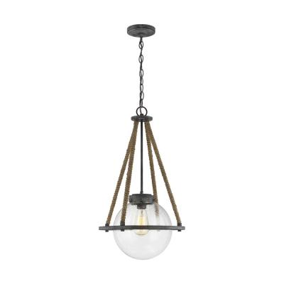 Cottage 13.75 in. W 1-Light Deep Abyss Gray Rustic Farmhouse Pendant with Round Seeded Glass Orb Shade and Rope Accents