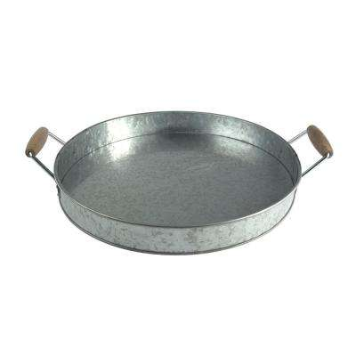 Round Galvanized Metal Gray Serving Tray with Wooden Handles