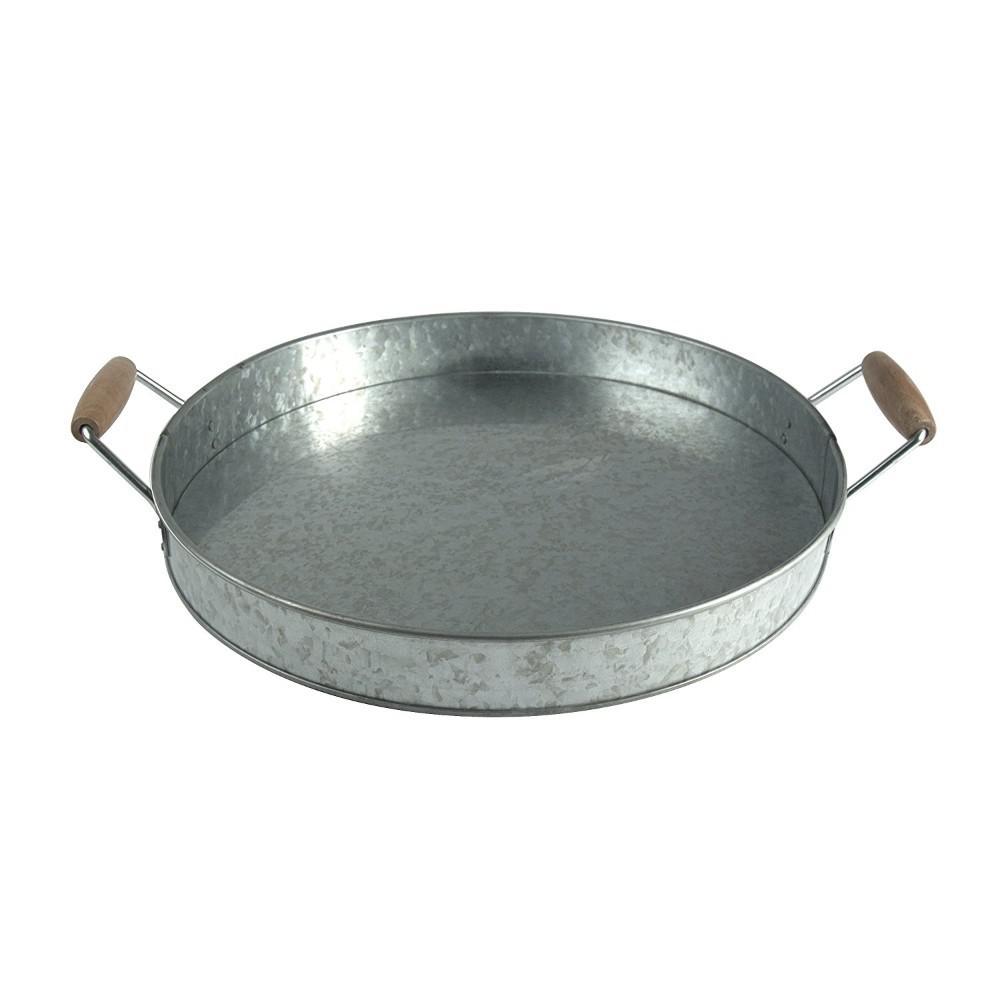 Benzara Round Galvanized Metal Gray Serving Tray with Wooden Handles