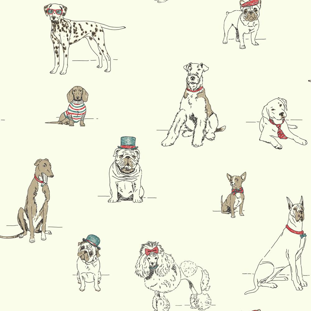 York Wallcoverings Ashford Toiles Dogs Life Wallpaper