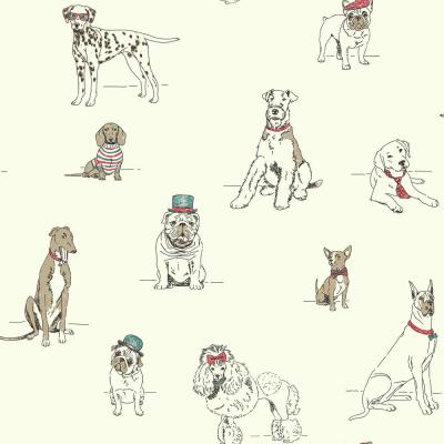 Dog's Life Wallpaper Red/Blue Paper Strippable Roll (Covers 56 sq. ft.)