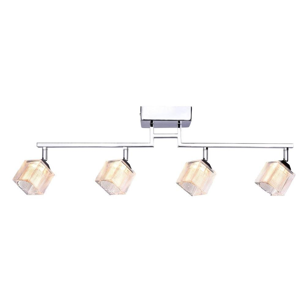 Hampton Bay 4 Light Led Directional Track Lighting Fixture With Prismatic Gl Shade