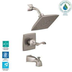 Everly 1-Handle 3-Spray Tub and Shower Faucet in SpotShield Brushed Nickel with H2Okinetic Technology (Valve Included)