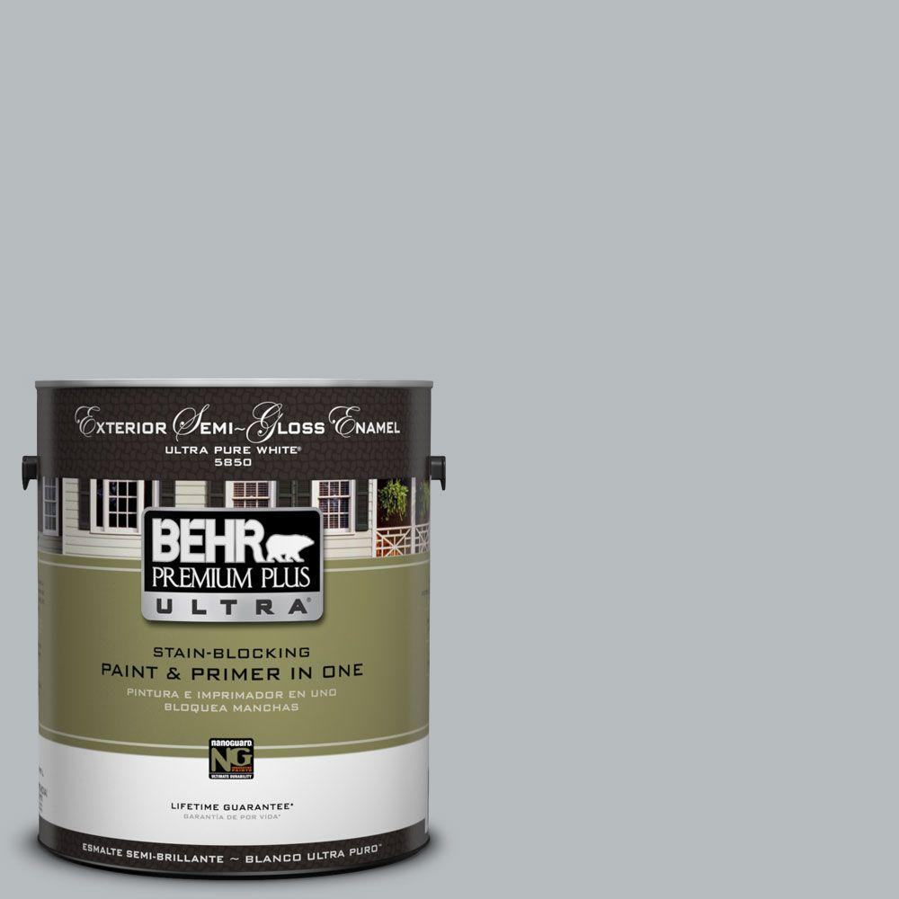 BEHR Premium Plus Ultra 1-Gal. #UL260-19 French Silver Semi-Gloss Enamel Exterior Paint