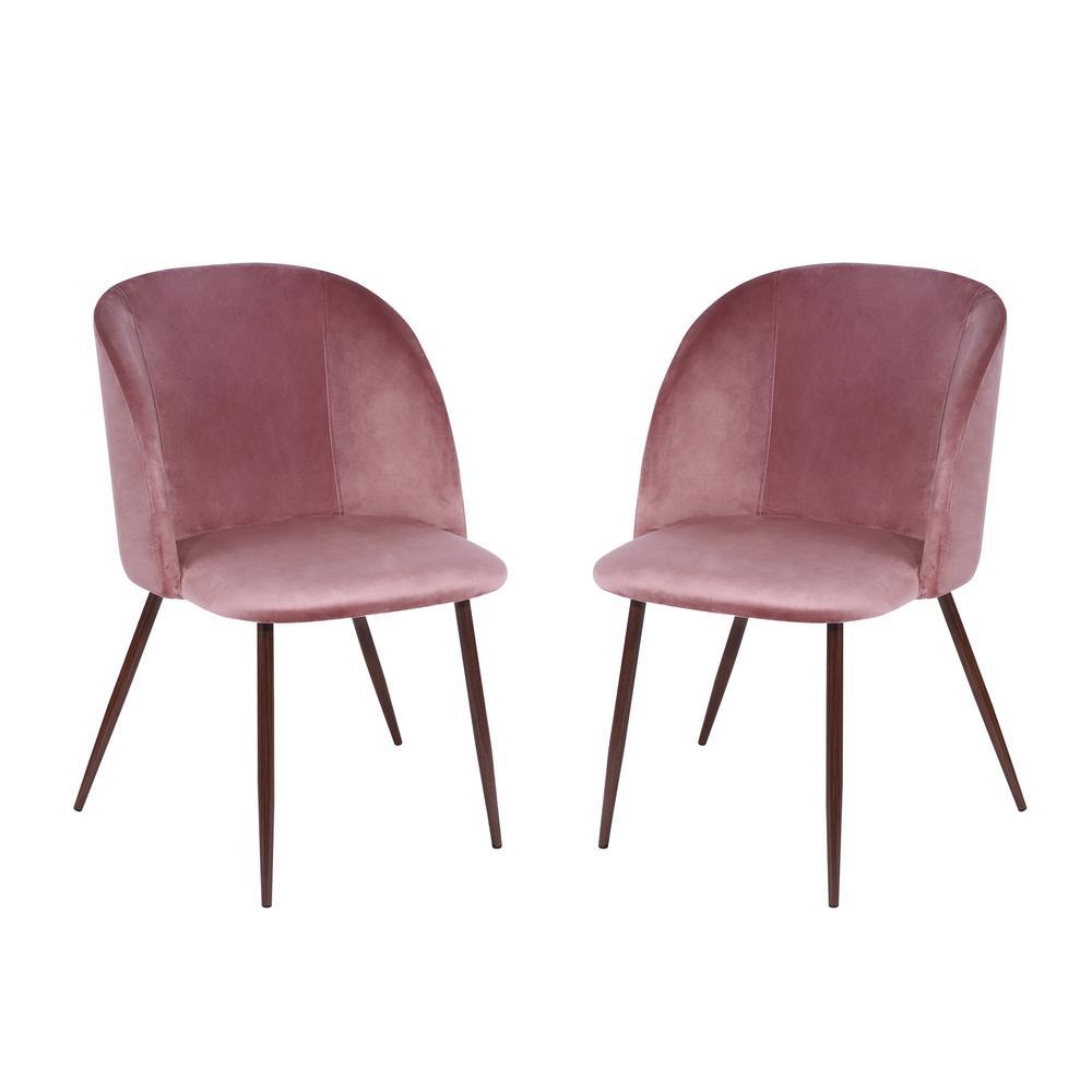 Kantwell Dusty Rose Velvet Dining Chair (Set of 2)