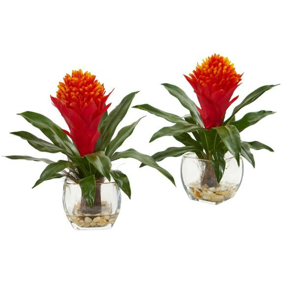 Nearly Natural Indoor Bromeliad Artificial Plant In Vase Set Of 2 8500 S2 The Home Depot