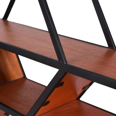 18 in. H x 33 in. W x 6 in. D StyleWell Hexagonal Wood and Metal Floating Shelf
