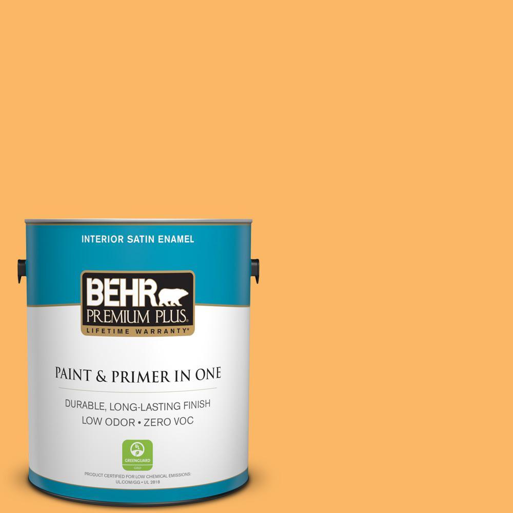 1-gal. #HDC-SM14-11 Yellow Polka Dot Zero VOC Satin Enamel Interior Paint