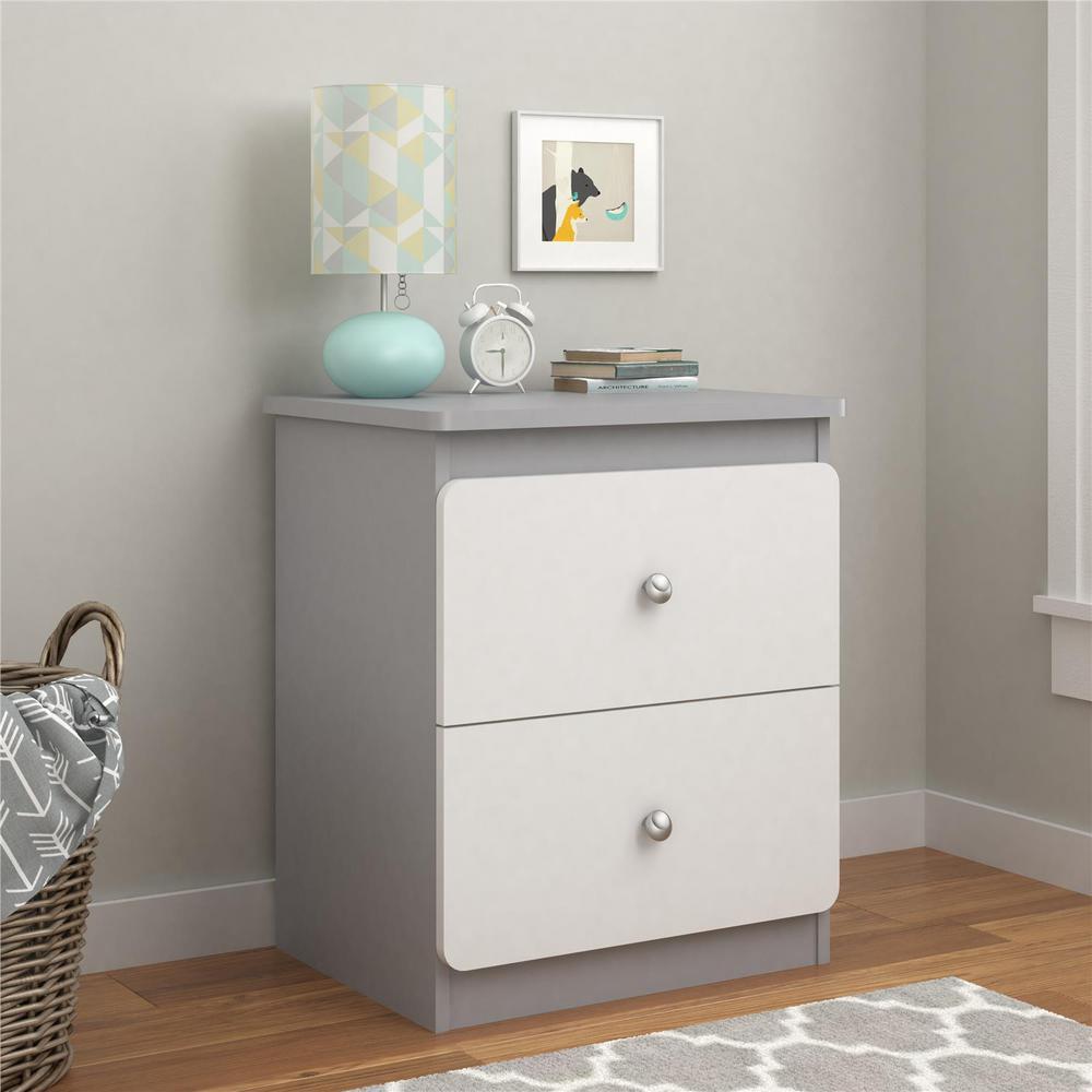 Willow 2-Drawer Gray/White Nightstand