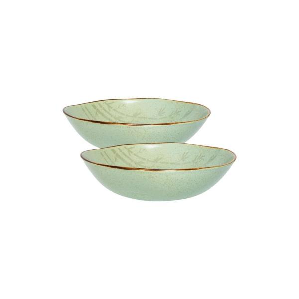 Ryo 54.10 fl. oz. Green Porcelain Salad Bowl (Set of 2)