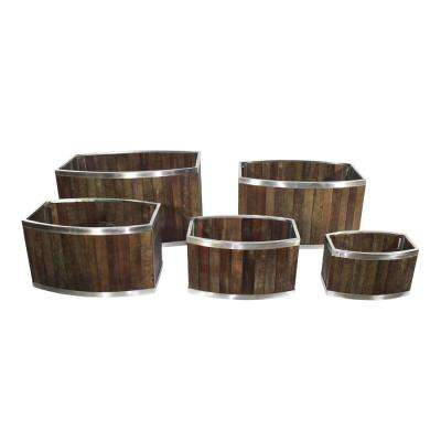 18 in. x 28 in. Oval Dark Brown Wooden Planter with Stainless Steel Trim