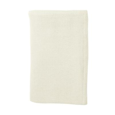 Cotton Weave Ivory Solid Woven Throw Blanket