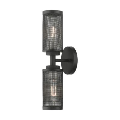 Industro 5.125 in. Black Sconce with Stainless Steel Mesh Shades