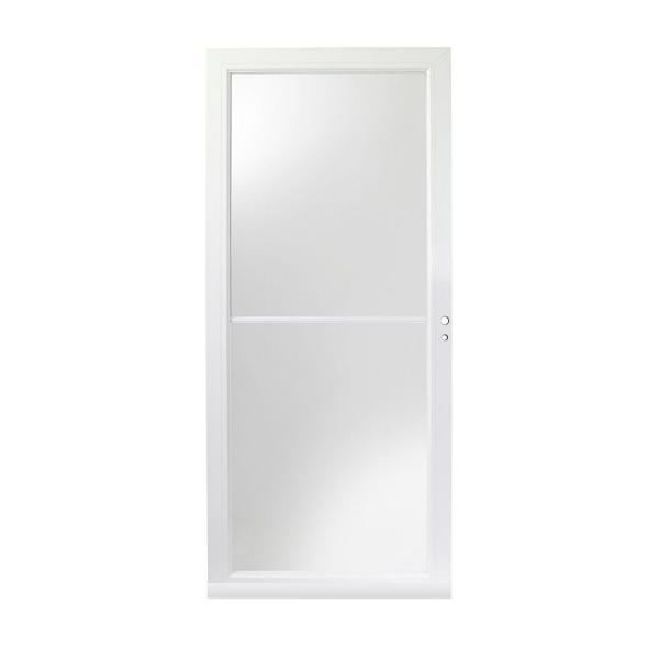 36 in. x 80 in. 3000 Series White Right-Hand Self-Storing Easy Install Aluminum Storm Door