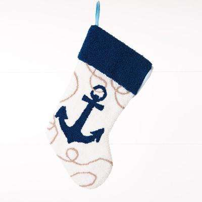 19 in. L Hooked Stocking, Anchor