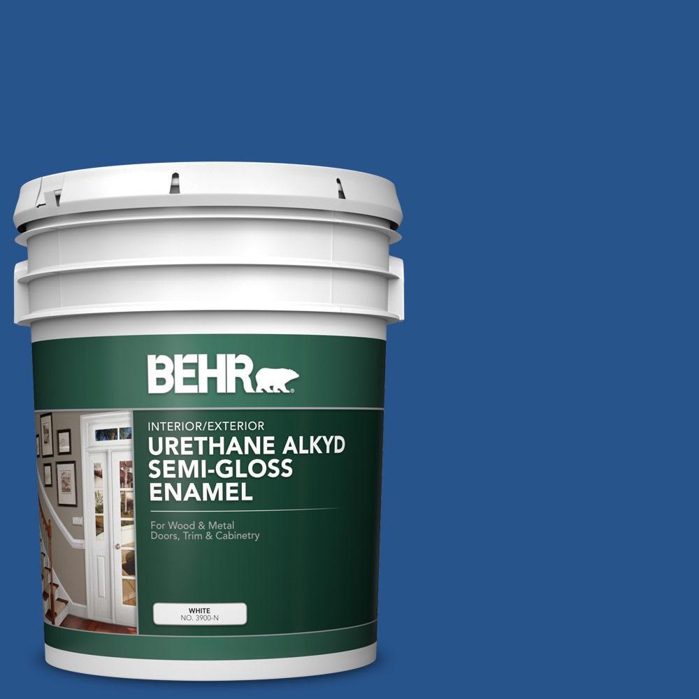 5 gal. #PPU15-03 Dark Cobalt Blue Urethane Alkyd Semi-Gloss Enamel Interior/Exterior Paint