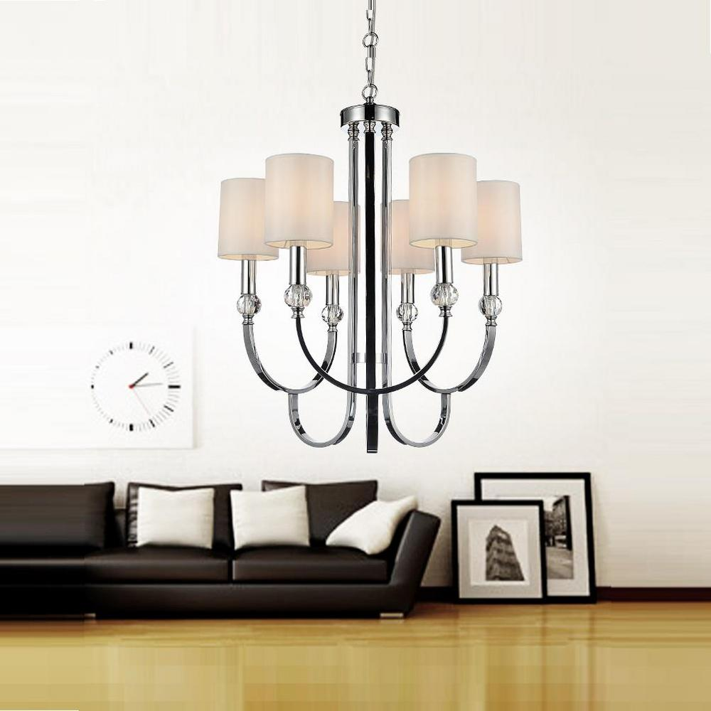Cwi lighting lounge 6 light chrome chandelier with beige shade cwi lighting lounge 6 light chrome chandelier with beige shade 5305p24c 6 the home depot aloadofball Images