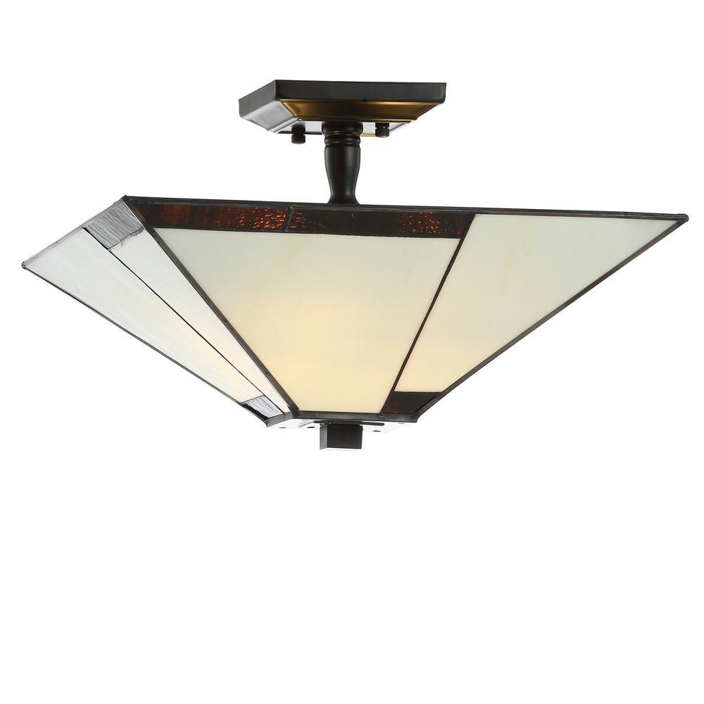 JONATHAN Y Julian 15.7 in. Ivory/Black Tiffany-Style Glass/Metal LED Semi-Flush Mount