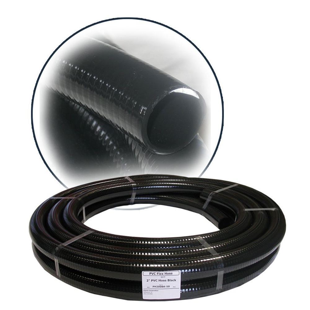 2 in. ID x 50 ft. PVC Flex Hose in Black