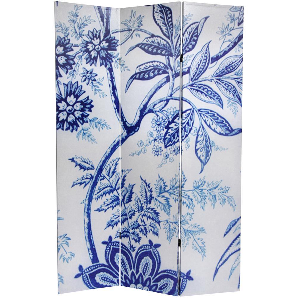 Oriental Furniture 6 ft. Printed 3-Panel Blue Toile Room Divider