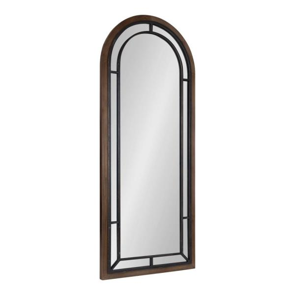 Audubon 48 in. x 20 in. Classic Arch Framed Rustic Brown Wall Accent Mirror