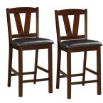 41 in. Brown Rubber Wood Counter Height Armless Chair (Set of 2)