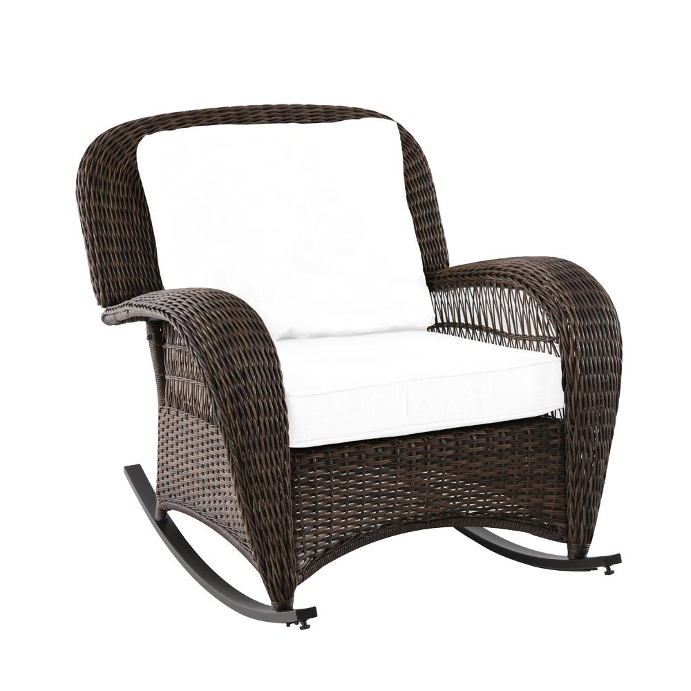 Hampton Bay Beacon Park Wicker Outdoor Rocking Chair With Toffee  Cushions FRS80812CRW   The Home Depot