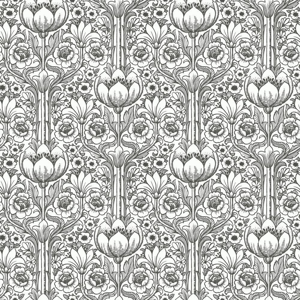 Brewster Odessa White Garden Damask Wallpaper Sample WV6086SAM
