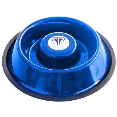 Large Stainless Steel Slow Eating Bowl in Blue