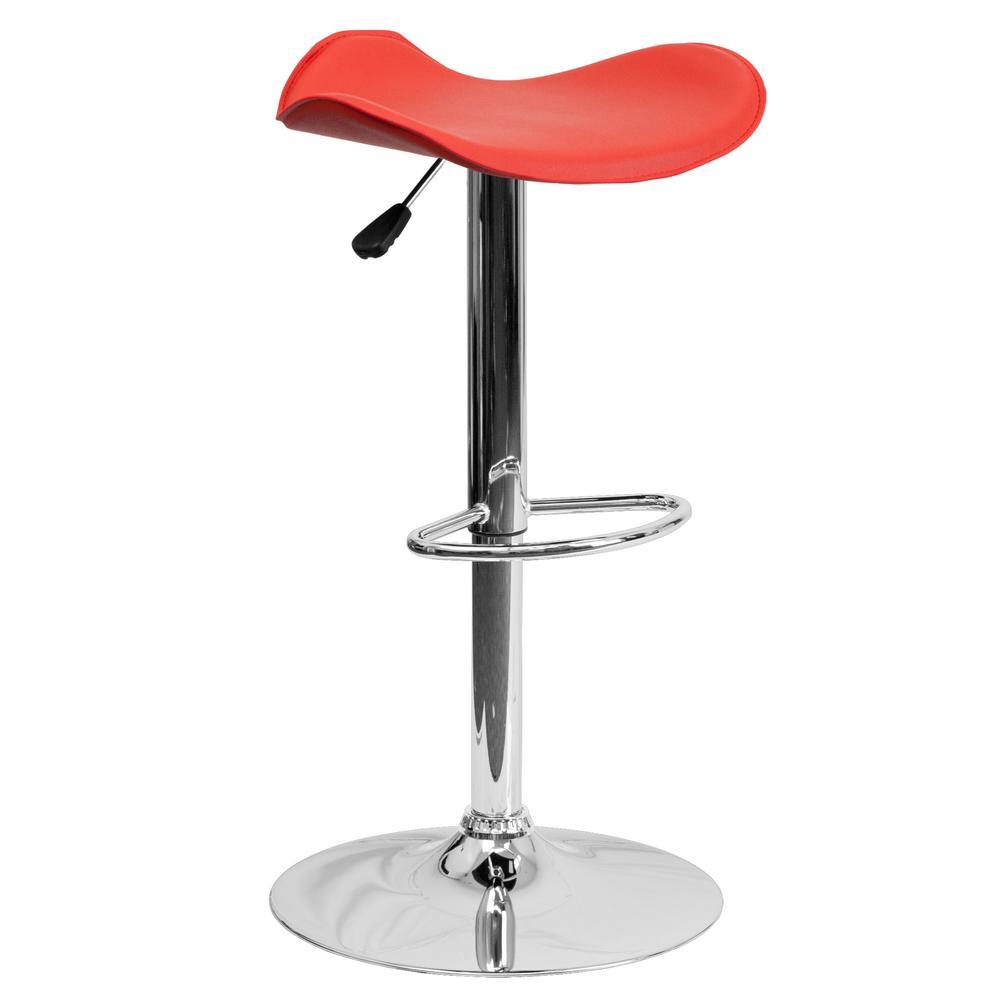 Adjustable Height Red Bar Stool