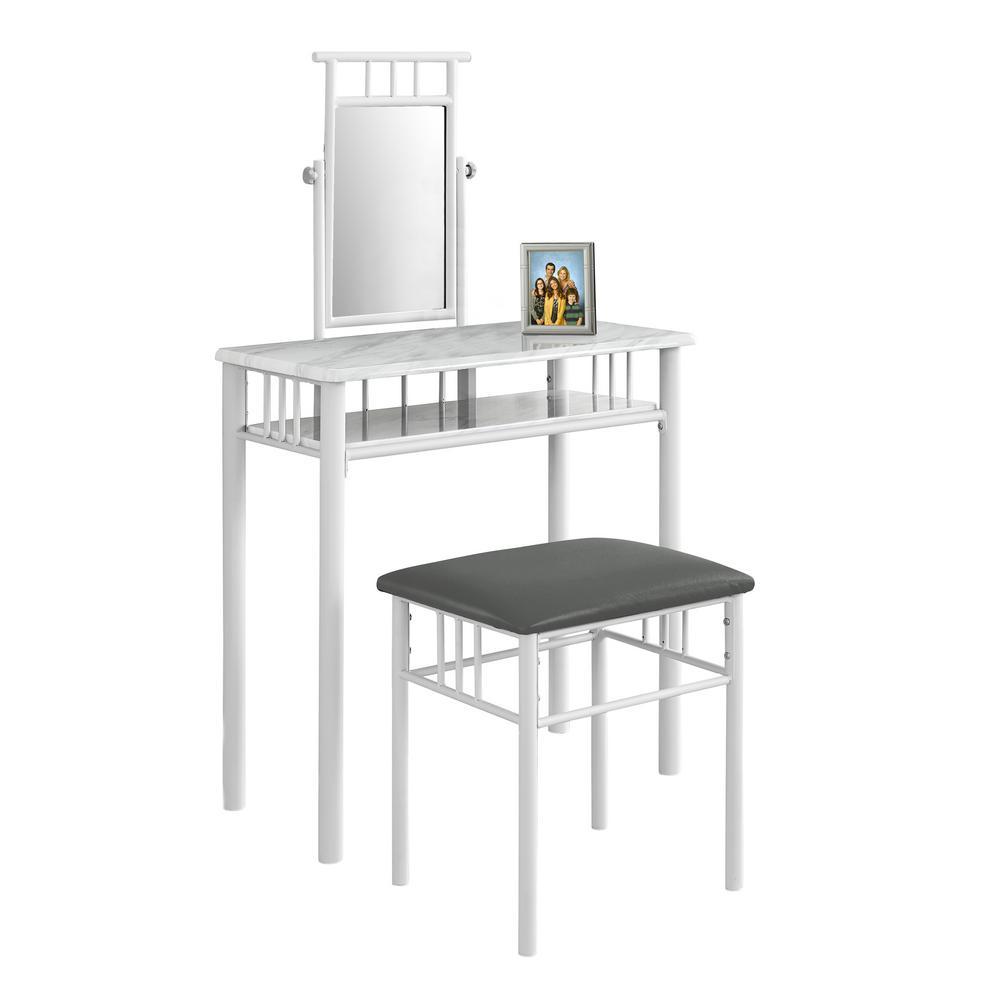 white metal vanity set. Monarch 2 Piece White Marble Look and Vanity Set I 3082
