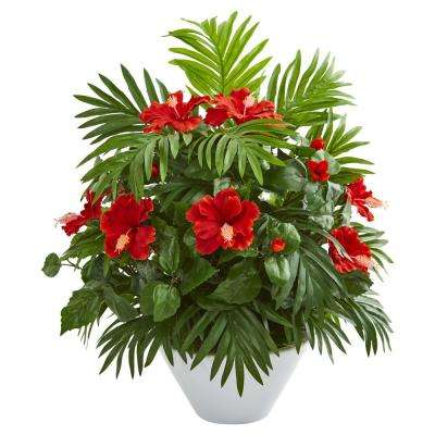 Indoor Hibiscus and Areca Palm Artificial Plant in White Bowl