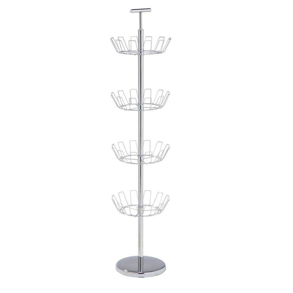 Honey-Can-Do 4-Tier 24-Pair Steel Shoe Tree in Chrome