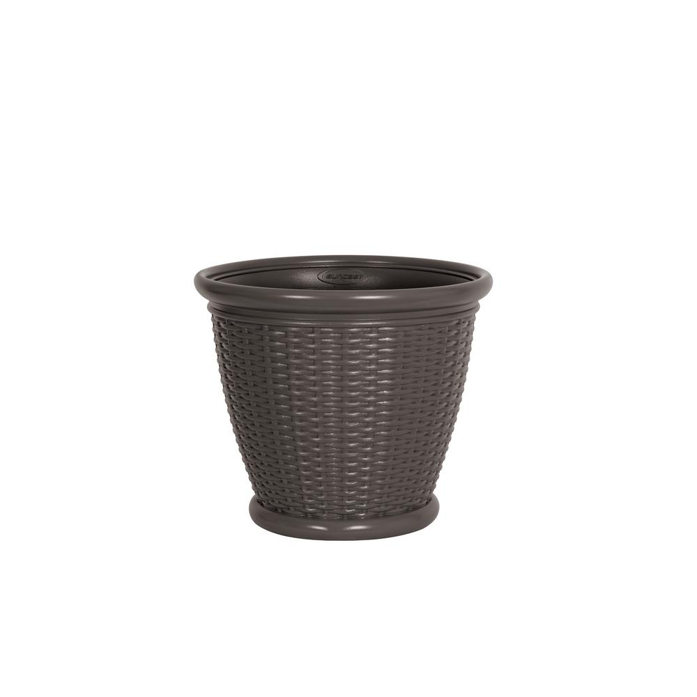 Suncast Willow 18 in. Dia Warm Gray Resin Planter (2-Pack)