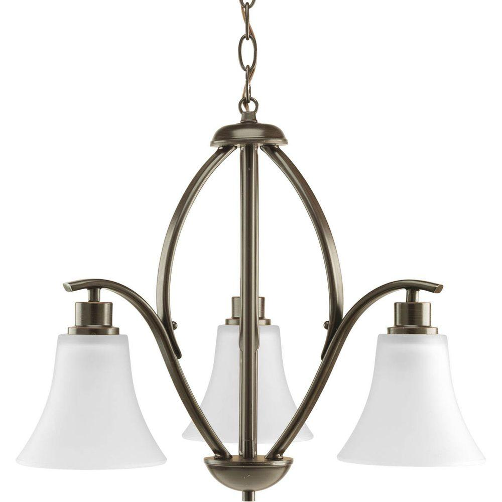 Joy Collection 3-Light Antique Bronze Chandelier with Etched White Glass