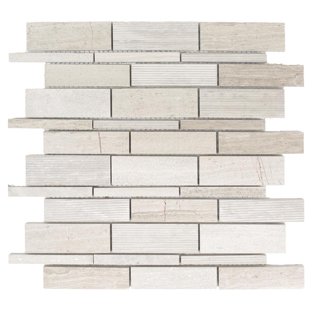 Jeffrey Court Tranquil Stone Grey 10.75 in. x 12.875 in. x 9.5 mm Interlocking Textured Limestone Mosaic Tile
