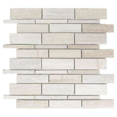 Tranquil Stone 10.75 in. x 12.875 in. x 9.5 mm Limestone Mosaic Wall Tile
