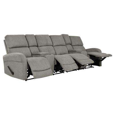 Warm Gray Chenille 4-Seat Recliner Sofa with 2-Storage Consoles and USB Ports