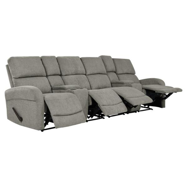 ProLounger Warm Gray Chenille 4-Seat Recliner Sofa with 2-Storage ...