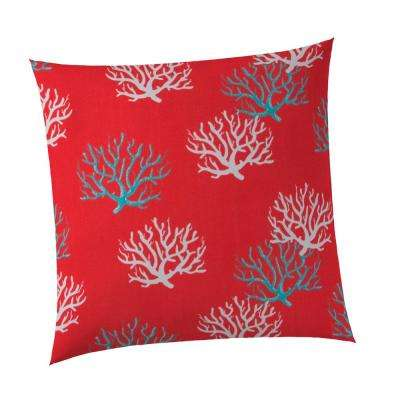 Reef Square Outdoor Throw Pillow Coral