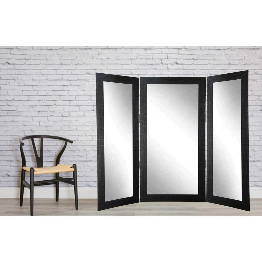 Full Scratched Black Trifold Dressing Mirror