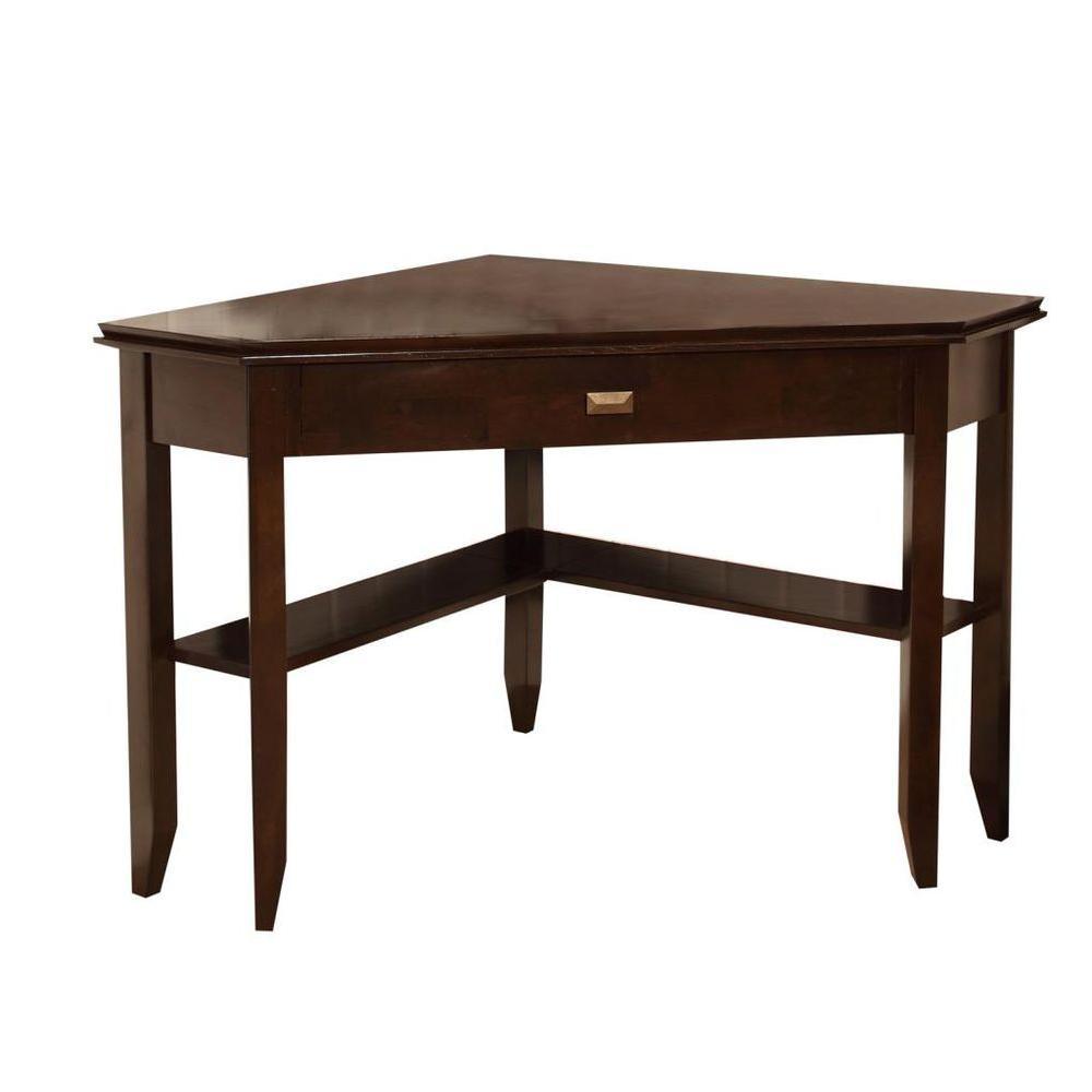 Simpli Home Urban Fair Dark Brown Solid Wood Corner Desk-DISCONTINUED