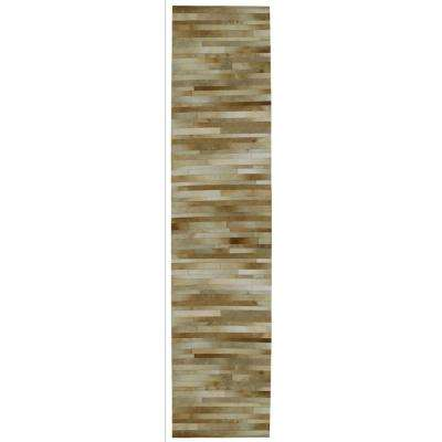Tan Leather Hair-On 2 ft. 6 in. x 12 ft. Runner