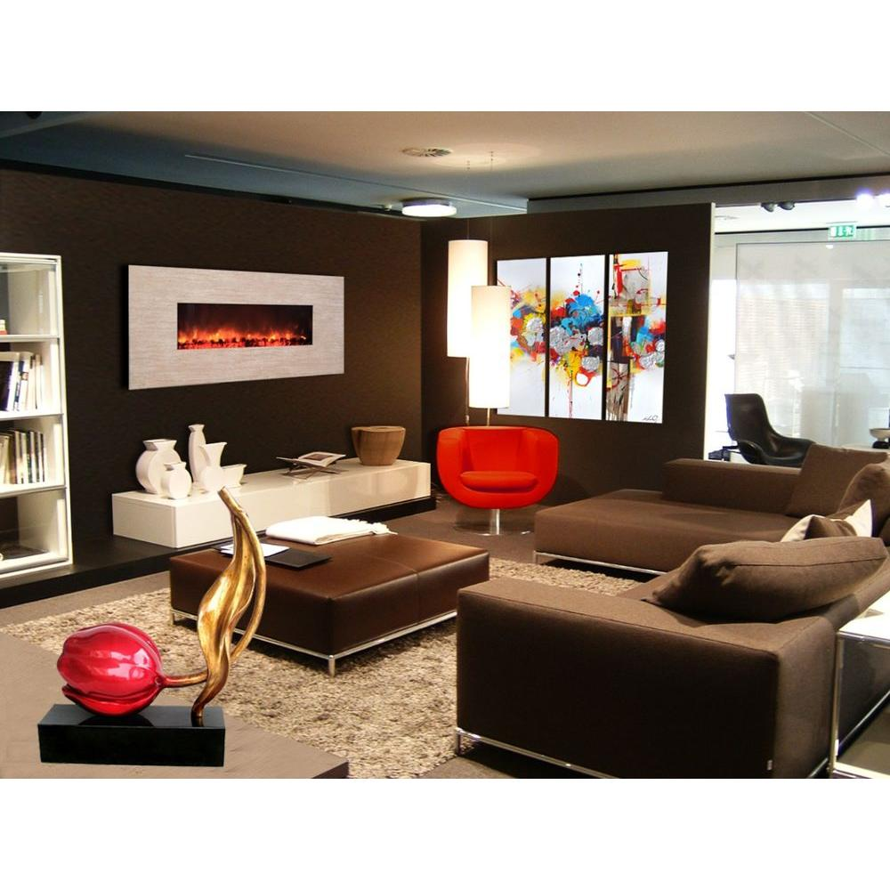 Yosemite Home Decor Adobe 58 in. Wall-Mount Electric Fireplace in Polished Beige